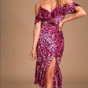 Magenta Velvet Floral Print Dress